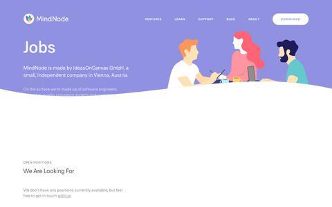 Screenshot of Jobs Page mindnode.com - Jobs - MindNode - captured Aug. 9, 2019