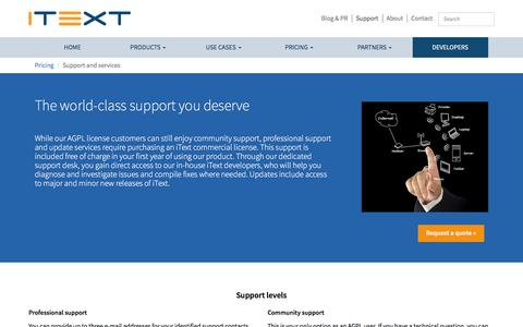 Screenshot of Support Page itextpdf.com - Support and services | iText - captured Nov. 27, 2015