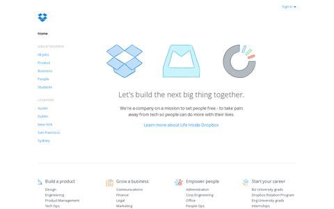 Screenshot of Jobs Page dropbox.com - Dropbox - Jobs - captured July 18, 2014