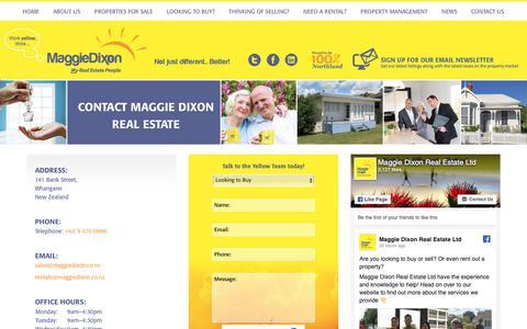 Screenshot of Contact Page maggiedixon.co.nz - Contact Maggie Dixon Real Estate Whangarei - captured Oct. 2, 2018