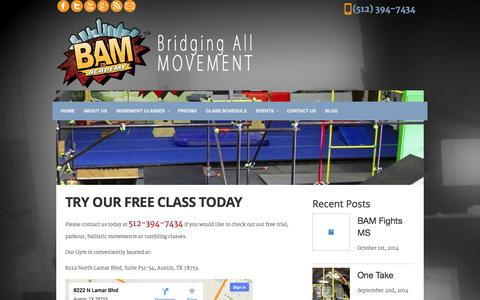 Screenshot of Signup Page thebamacademy.com - Try Our Free Class Today - BAM Academy Austin - captured Oct. 3, 2014