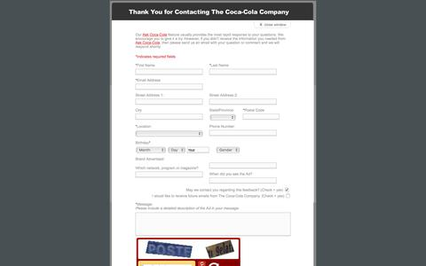 Screenshot of Landing Page coca-colacompany.com - Coca-Cola - eQuery Form - Advertising - captured Aug. 13, 2016