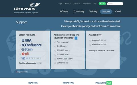Screenshot of Support Page clearvision-cm.com - Support Packages | Atlassian Support | Git, SVN & More - captured Sept. 19, 2014