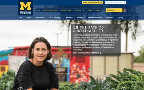 Screenshot of Home Page umich.edu - University of Michigan - captured Oct. 17, 2018
