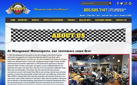 Screenshot of About Page mungenastmotorsports.com - About Us | Mungenast Motorsports | St. Louis, MO - captured Nov. 7, 2018