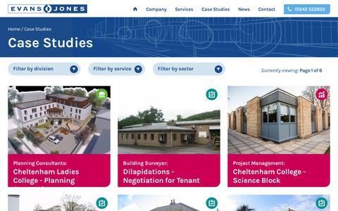 Screenshot of Case Studies Page evansjones.co.uk - Case Studies | Evans Jones - captured July 6, 2017