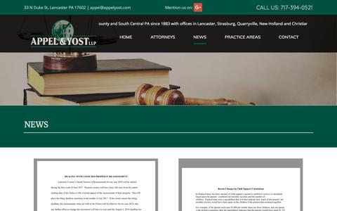 Screenshot of Press Page appelyost.com - Attorneys – Lancaster, PA – Appel & Yost LLP - captured Oct. 8, 2017