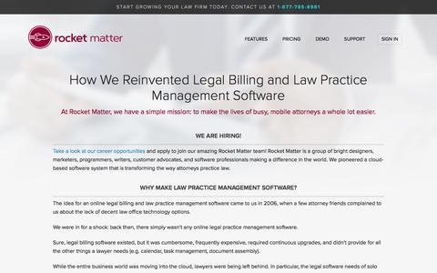 Screenshot of About Page rocketmatter.com - Rocket Matter - How We Reinvented Law Practice Management Software - captured Feb. 19, 2016