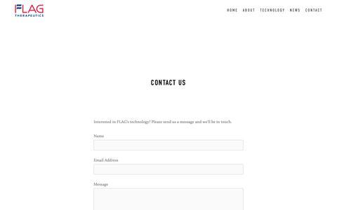 Screenshot of Contact Page flagtherapeutics.com - Contact — Flag Therapeutics - captured Nov. 14, 2018