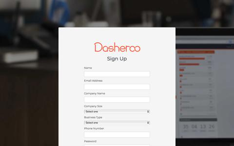Screenshot of Signup Page dasheroo.com - Dasheroo - captured June 4, 2018