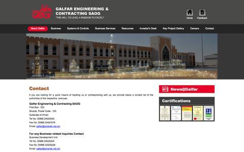 Screenshot of Contact Page galfar.com - Contact - captured Sept. 19, 2014