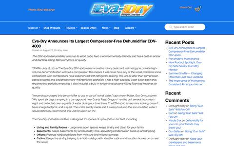 Screenshot of Blog eva-dry.com - Eva-Dry | Dehumidifiers for Home | Portable & CompactEva-Dry | Dehumidifiers for Home | Portable & Compact - captured Sept. 23, 2014