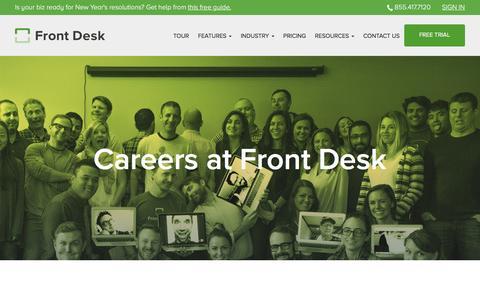 Screenshot of Jobs Page frontdeskhq.com - Careers - captured Jan. 20, 2016