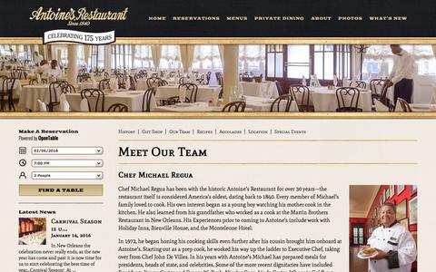 Screenshot of Team Page antoines.com - Meet Our Team | Antoine's Restaurant - captured Feb. 6, 2016