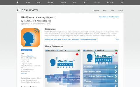 Screenshot of iOS App Page apple.com - MindShare Learning Report on the App Store on iTunes - captured Oct. 27, 2014