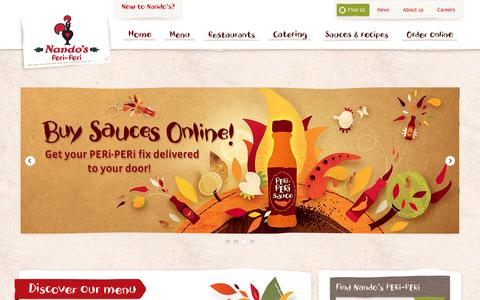 Screenshot of Home Page nandosperiperi.com - PERi-PERi flame-grilled Chicken Restaurants | Nando's USA - captured Feb. 17, 2016