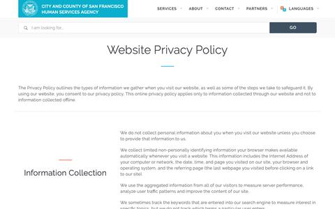 Screenshot of Privacy Page sfhsa.org - Privacy Policy | San Francisco Human Services Agency - captured Nov. 10, 2018