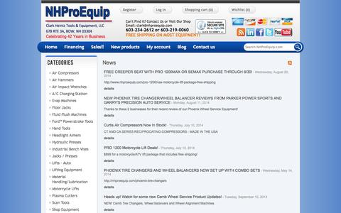 Screenshot of Press Page nhproequip.com - News Archive | Automotive Tools and Equipment, Motorcycle Lifts - captured Oct. 2, 2014