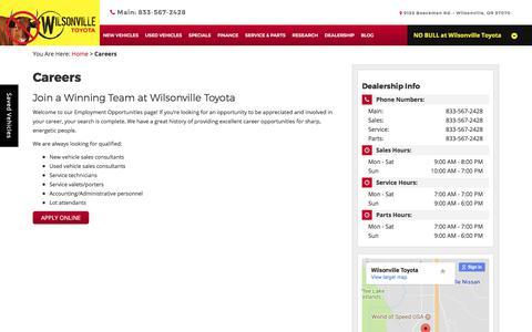 Screenshot of Jobs Page wilsonvilletoyota.com - Wilsonville Dealership Automotive Job   Wilsonville Toyota - captured Oct. 21, 2017
