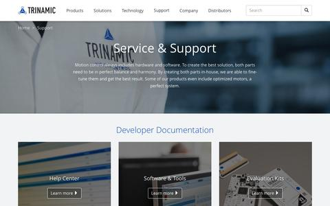 Screenshot of Support Page trinamic.com - Support - Trinamic - captured Dec. 16, 2016