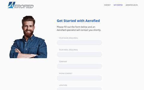 Screenshot of Signup Page aerofied.com - Get Started – aerofied - captured Oct. 18, 2018