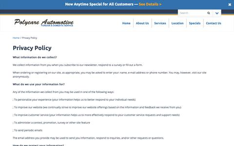 Screenshot of Privacy Page polycareauto.com - Privacy Policy - Polycare Automotive - captured Sept. 28, 2018