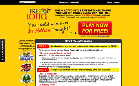 Screenshot of Home Page freelotto.com - Lotto Style Sweepstakes - Play Lottery Style Games for Free & Win Money - FreeLotto - captured Sept. 19, 2014