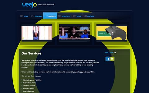 Screenshot of Services Page veejo.co.uk - Video Production Services - captured Oct. 26, 2014