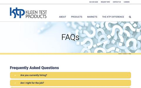 Screenshot of FAQ Page kleentest.com - FAQs - Kleen Test Products Corporation - captured Oct. 15, 2018