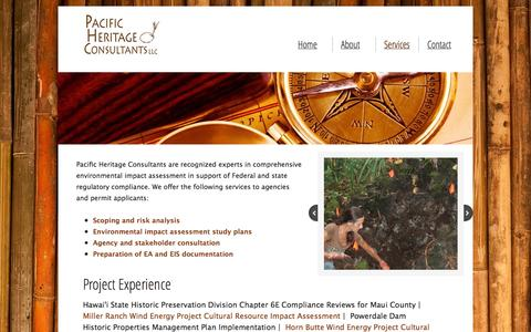Screenshot of Services Page pacificheritageconsultants.com - PHC Services - captured Oct. 1, 2014