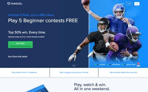 Screenshot of Home Page fanduel.com - FanDuel: Daily Fantasy Football, MLB, NBA, NHL Leagues for Cash  | FanDuel - captured Oct. 8, 2016