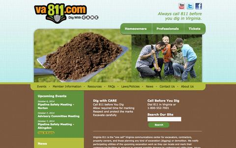 Screenshot of Home Page va811.com - Miss Utility of Virginia | Always call 811 before you dig in Virginia. - captured Oct. 6, 2014