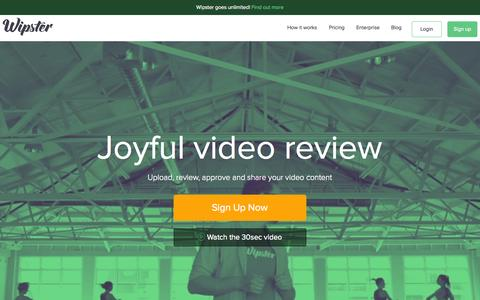 Screenshot of Home Page wipster.io - Wipster | Video Review and Approval - Free - captured Nov. 5, 2015