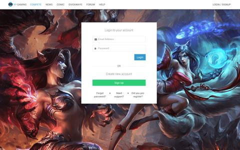 Screenshot of Login Page xygaming.com - XY Gaming - Play Online Games for Cash - captured Aug. 11, 2016