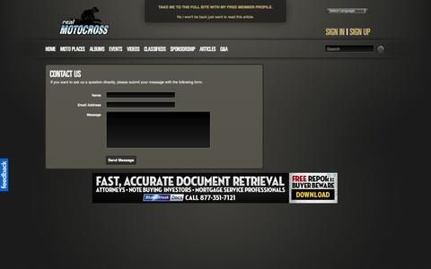 Screenshot of Contact Page realmotocross.com - realMotocross - captured Oct. 7, 2014