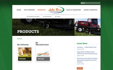 Screenshot of Products Page luber.com - Products | Luber Brothers Turf EquipmentLuber Brothers Turf Equipment - captured Oct. 3, 2014