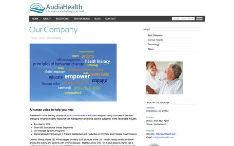 Screenshot of About Page audiahealth.com - AudiaHealth - a human voice to help you healOur Company - captured Feb. 6, 2016