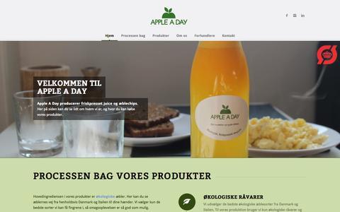 Screenshot of Home Page appleaday.dk - Apple A Day | Friskpresset juice og æblechips - captured Oct. 4, 2014