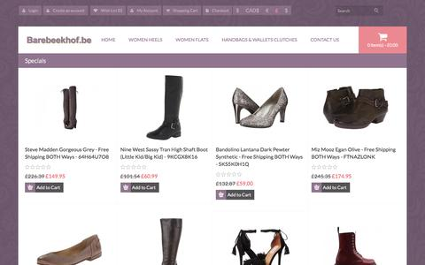Screenshot of Home Page barebeekhof.be - Official Cross-Body Bags, Store Flats Shoes, Online Women Sandals - captured Feb. 3, 2016