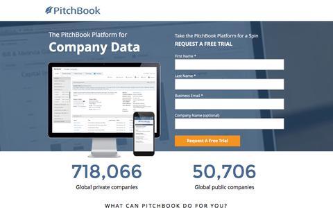 Screenshot of Landing Page pitchbook.com captured Aug. 22, 2016