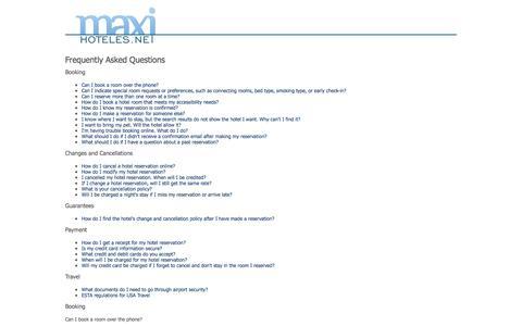 Screenshot of FAQ Page maxihoteles.net - FAQ - captured Nov. 3, 2014