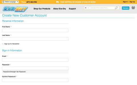 Screenshot of Signup Page eva-dry.com - Create New Customer Account - captured July 15, 2018