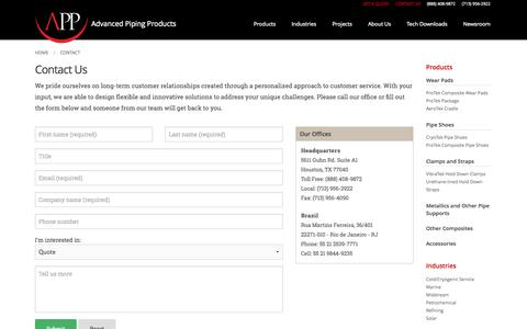 Screenshot of Contact Page appinc.co - Contact Us | Advanced Piping Products - captured Oct. 27, 2014