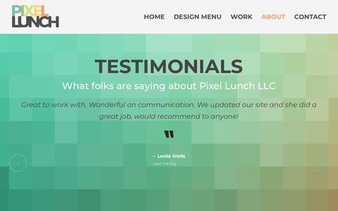 Screenshot of Testimonials Page pixellunchdesign.com - Testimonials   Pixel Lunch LLC - captured Sept. 28, 2018