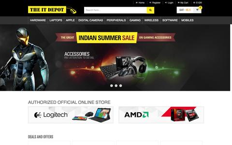 Screenshot of Home Page theitdepot.com - India's First IT Online Shopping Store - captured June 18, 2015