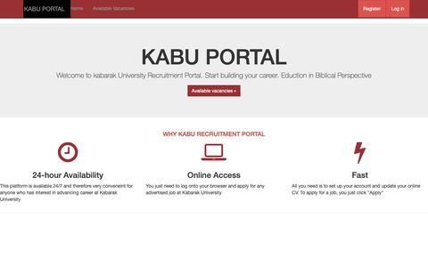 Screenshot of Jobs Page kabarak.ac.ke - Home Page - KABU PORTAL - captured Nov. 15, 2018