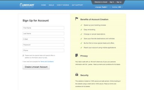 Screenshot of Signup Page limocart.com - Sign Up | Limocart - captured Nov. 9, 2016