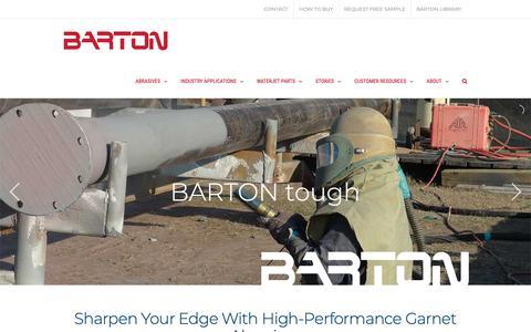 Screenshot of Home Page barton.com - Garnet Abrasives | Mineral Abrasives | High Performance | BARTON - captured Nov. 13, 2018