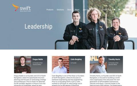 Screenshot of Team Page swiftnav.com - GPS Systems, GPS-enabled Robots, Autonomous Vehicles, SwiftNav Leadership - captured Dec. 4, 2016