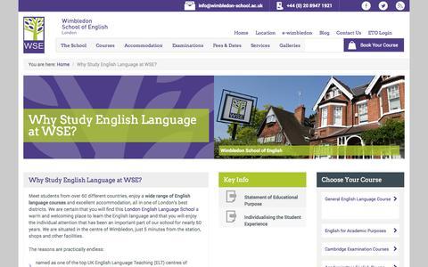 Screenshot of About Page wimbledon-school.ac.uk - Why Study English Language at WSE? - captured Oct. 7, 2014